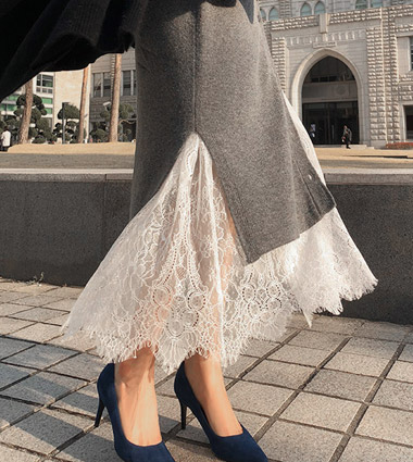 *classy lace long dress (2colors!)  [ white 당일발송 ]