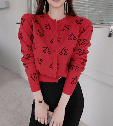 cherry round cardigan(3colors!)