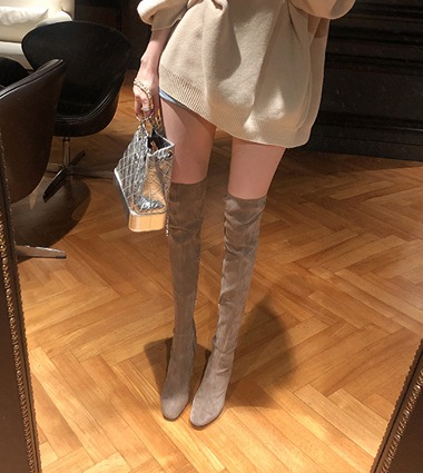 suede thigh high boots(2color!)